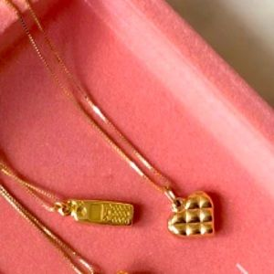 14k\10k Solid Yellow Gold Puffed Heart Necklace